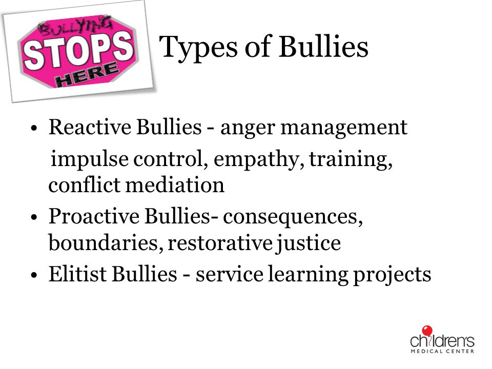 Types of Bullies Reactive Bullies - anger management