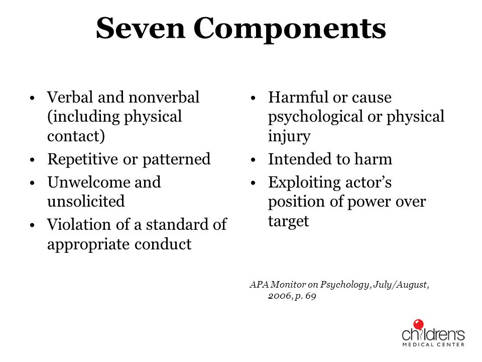 Seven Components Verbal and nonverbal (including physical contact)