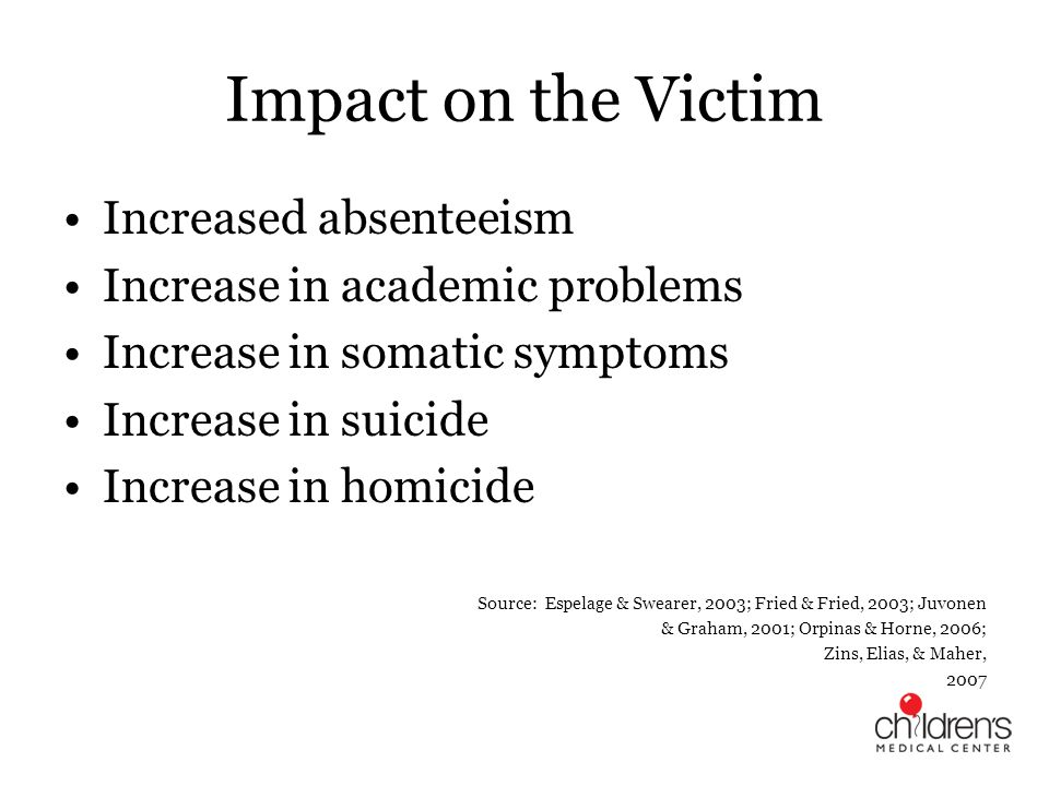 Impact on the Victim Increased absenteeism