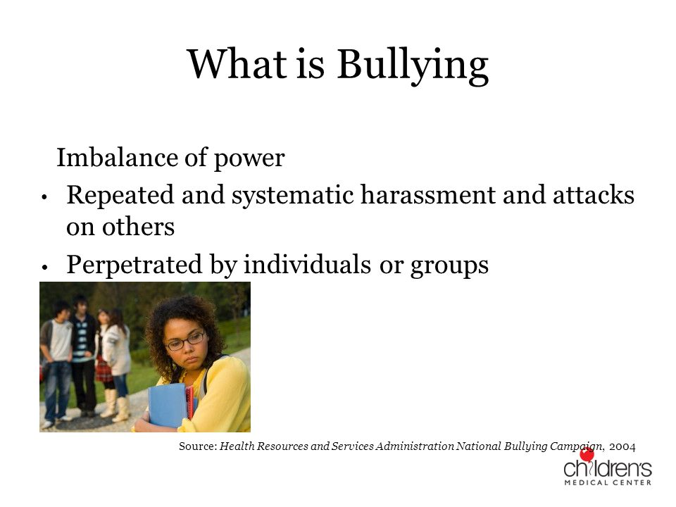 What is Bullying An Imbalance of power. Repeated and systematic harassment and attacks on others. Perpetrated by individuals or groups.
