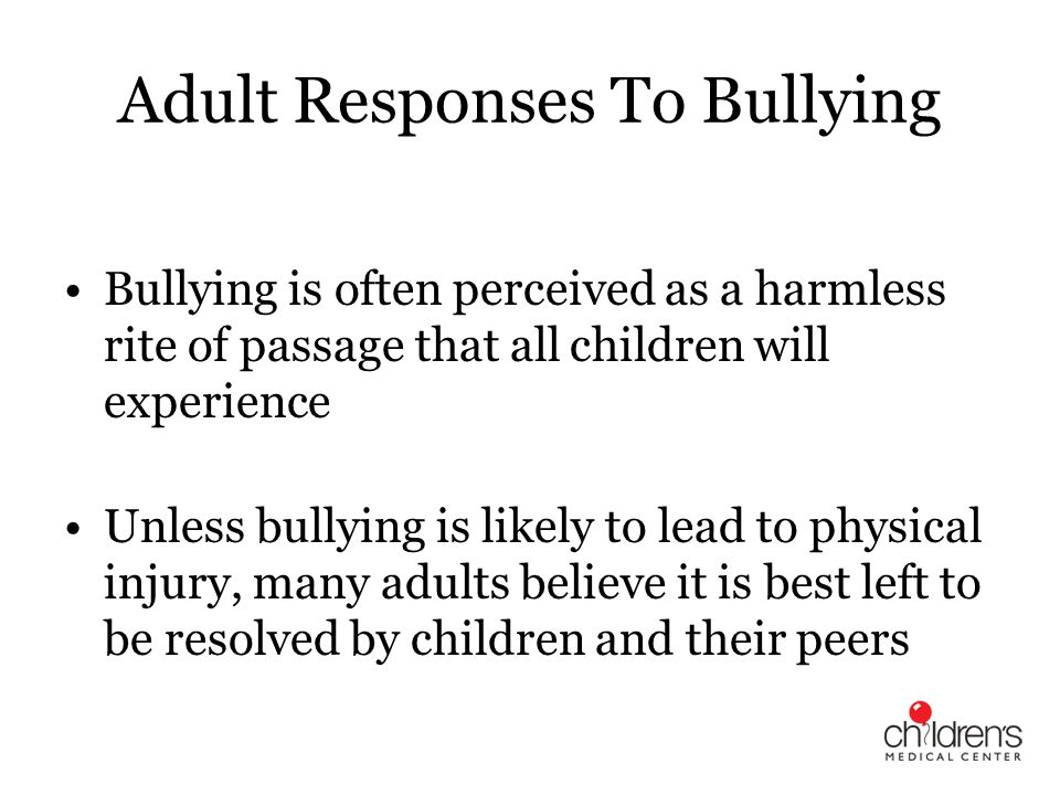 Adult Responses To Bullying