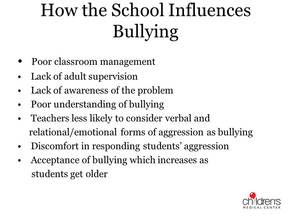How the School Influences Bullying