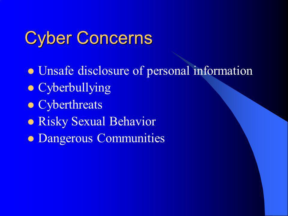 Cyber Concerns Unsafe disclosure of personal information Cyberbullying