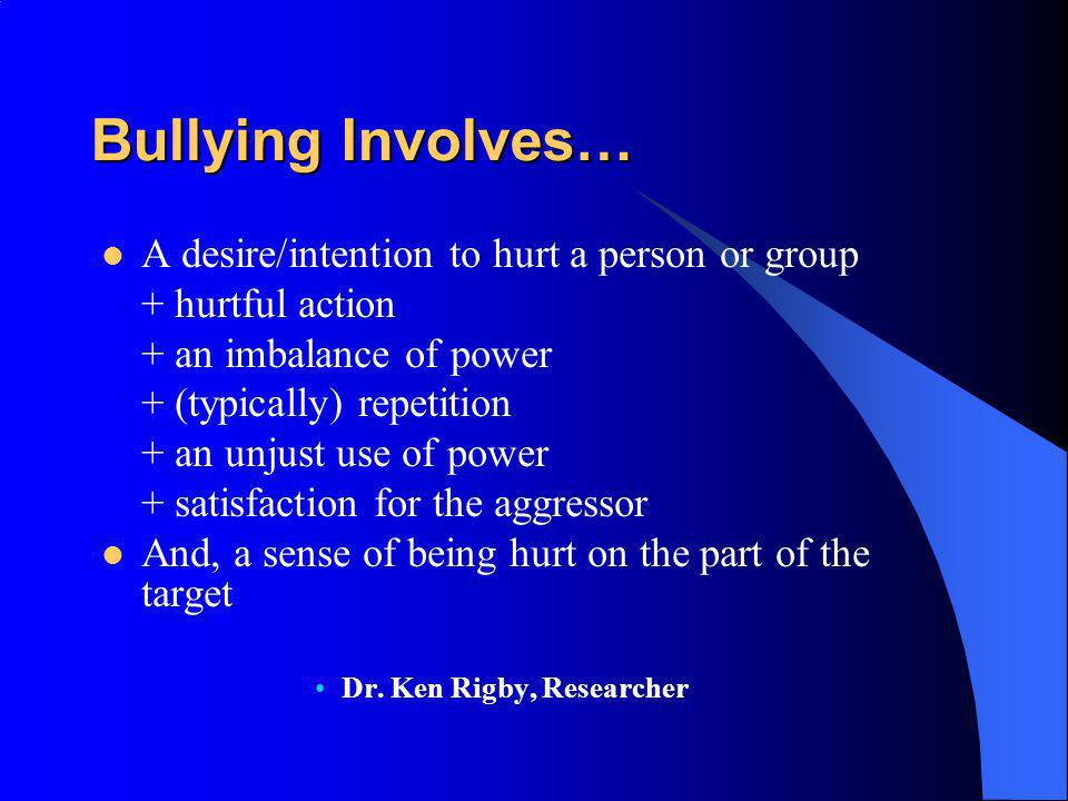Bullying Involves… A desire/intention to hurt a person or group