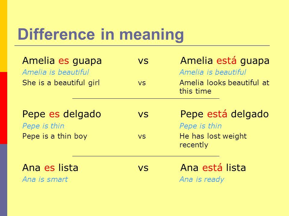 Difference in meaning Amelia es guapa vs Amelia está guapa