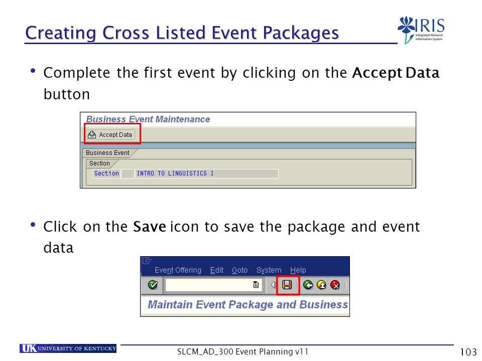 Creating Cross Listed Event Packages