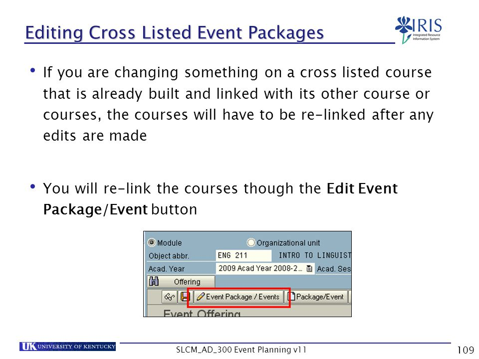 Editing Cross Listed Event Packages