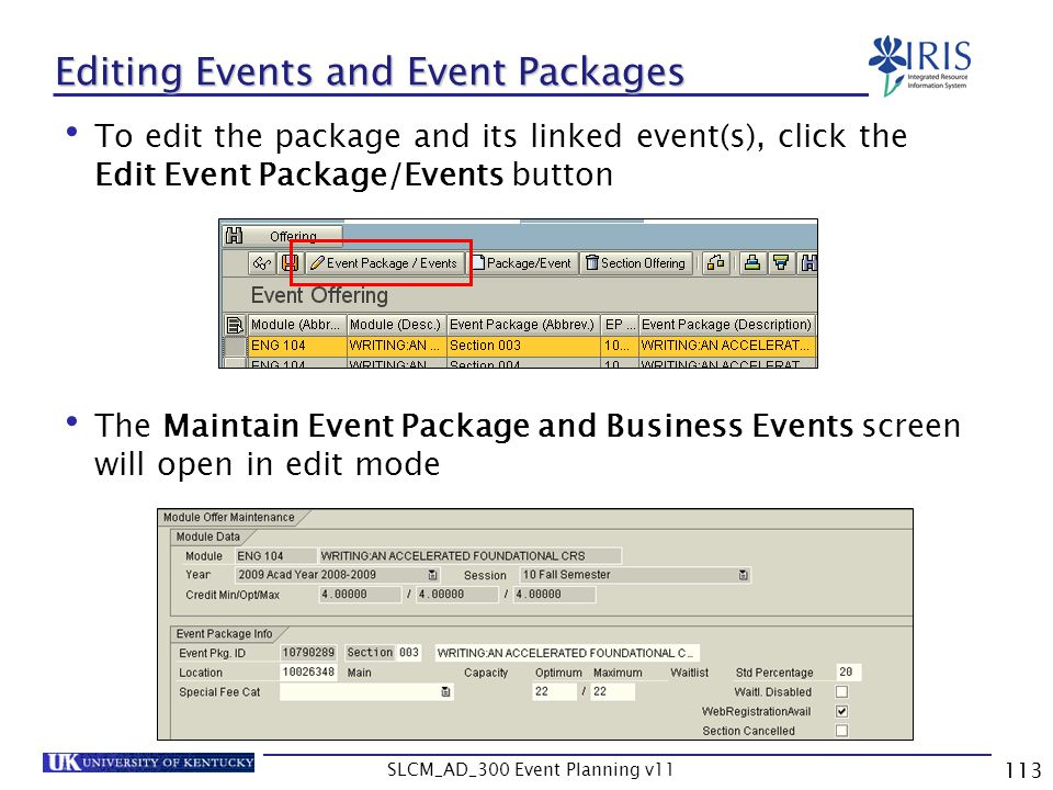 Editing Events and Event Packages