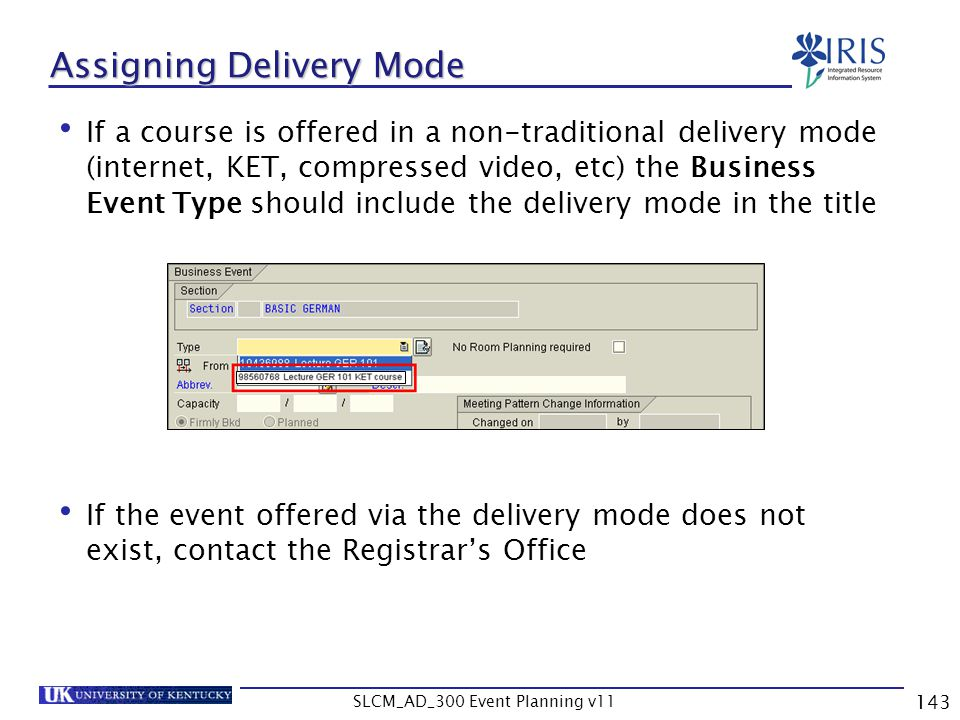 Assigning Delivery Mode