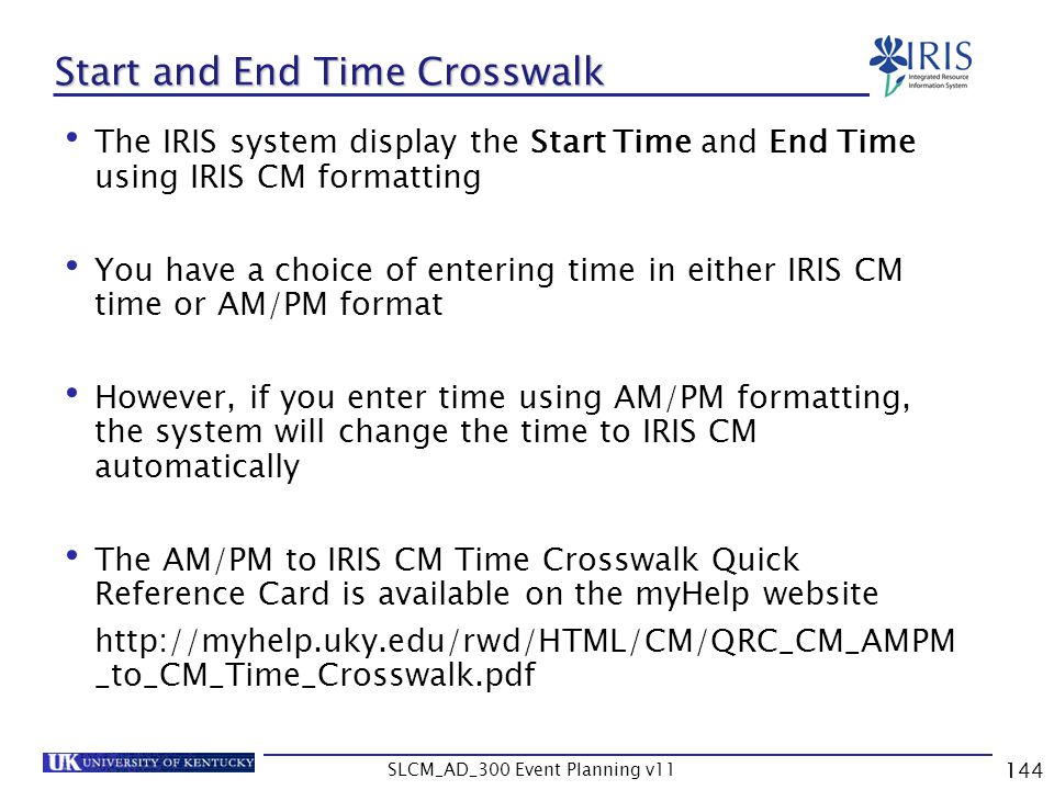 Start and End Time Crosswalk