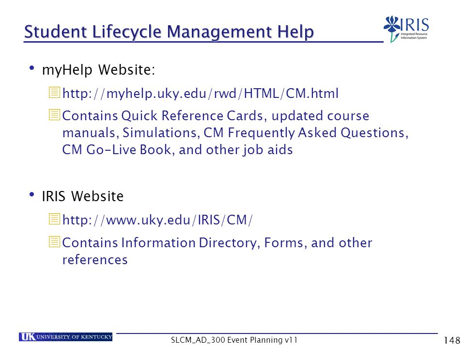 Student Lifecycle Management Help