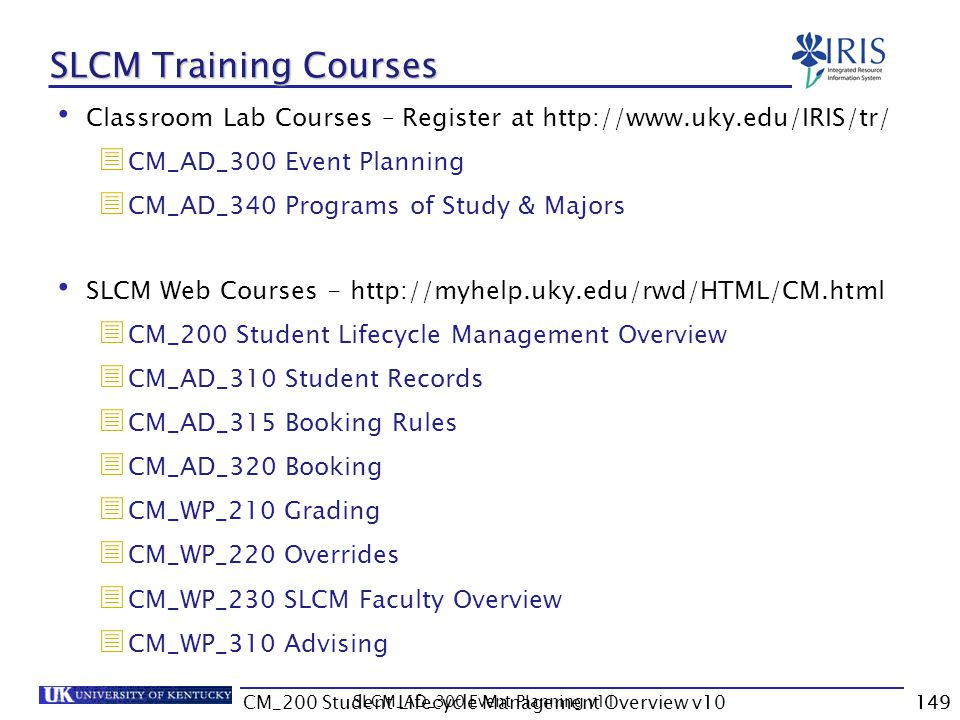 SLCM Training Courses Classroom Lab Courses – Register at http://www.uky.edu/IRIS/tr/ CM_AD_300 Event Planning.