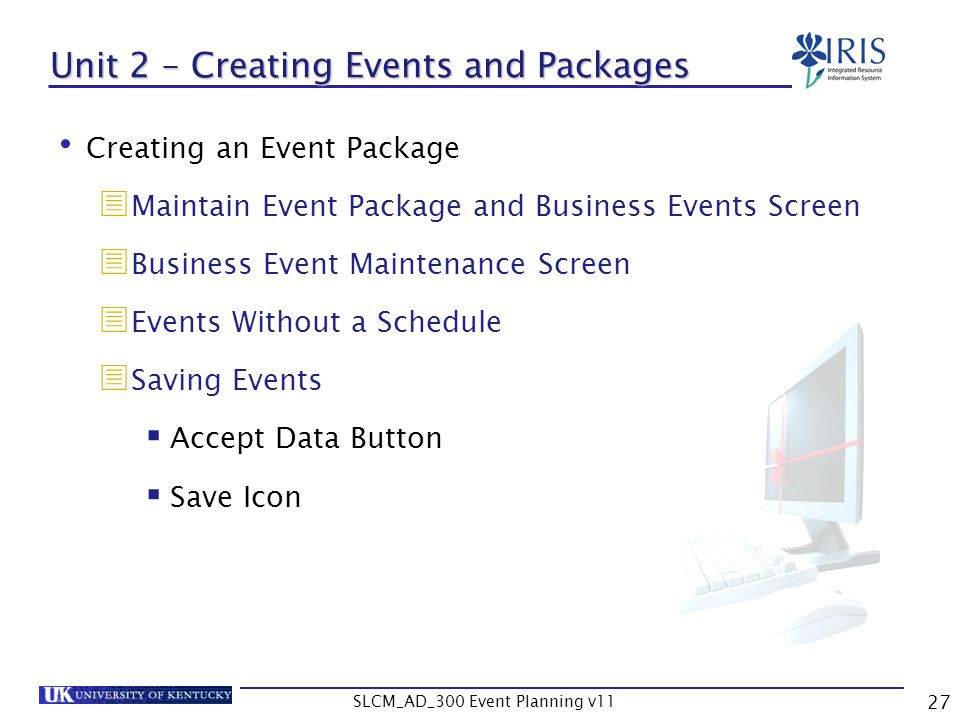 Unit 2 – Creating Events and Packages