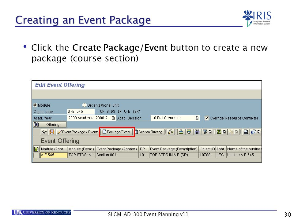 Creating an Event Package
