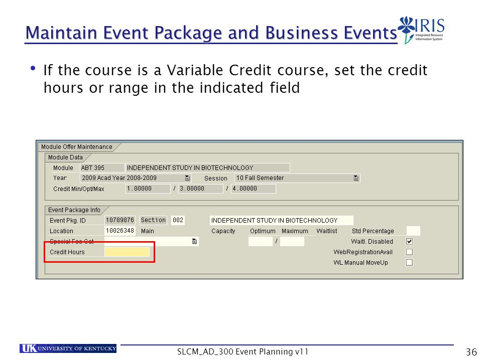 Maintain Event Package and Business Events