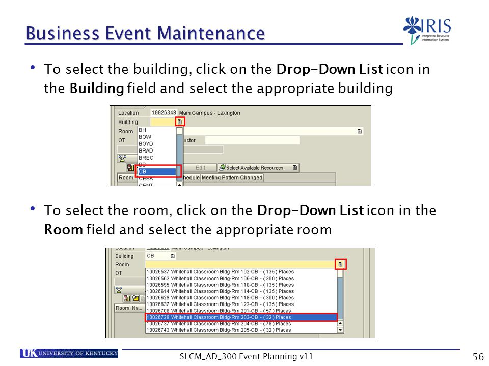 Business Event Maintenance
