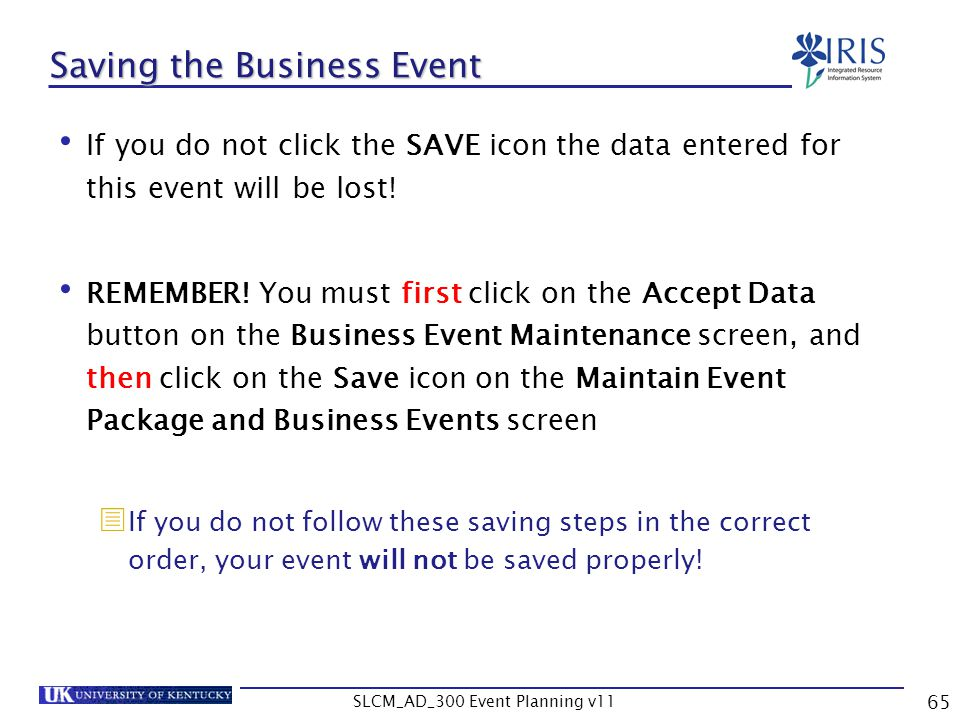 Saving the Business Event