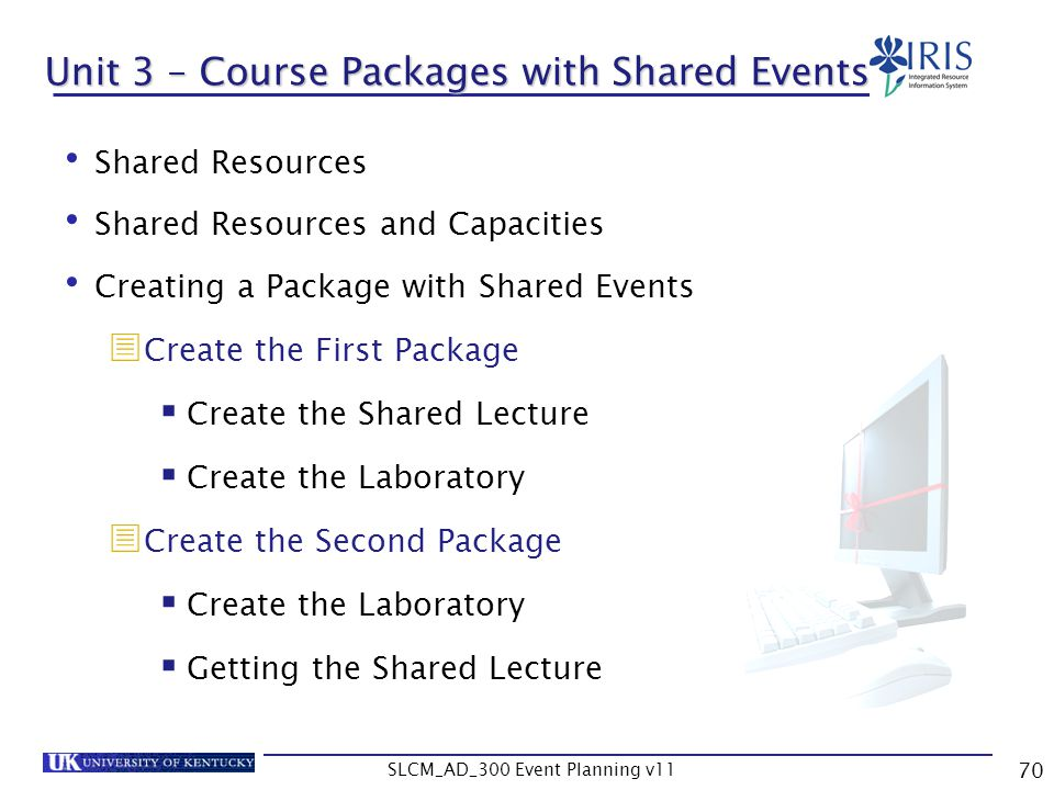 Unit 3 – Course Packages with Shared Events