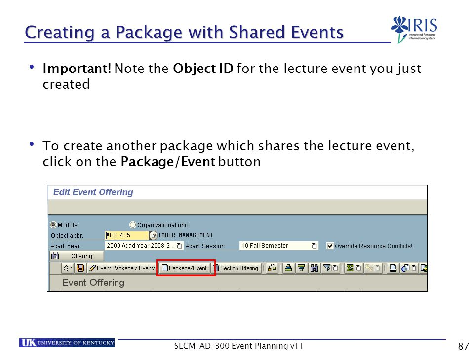 Creating a Package with Shared Events