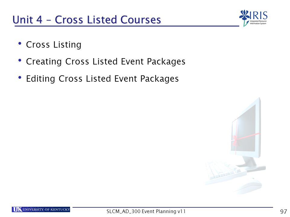Unit 4 – Cross Listed Courses