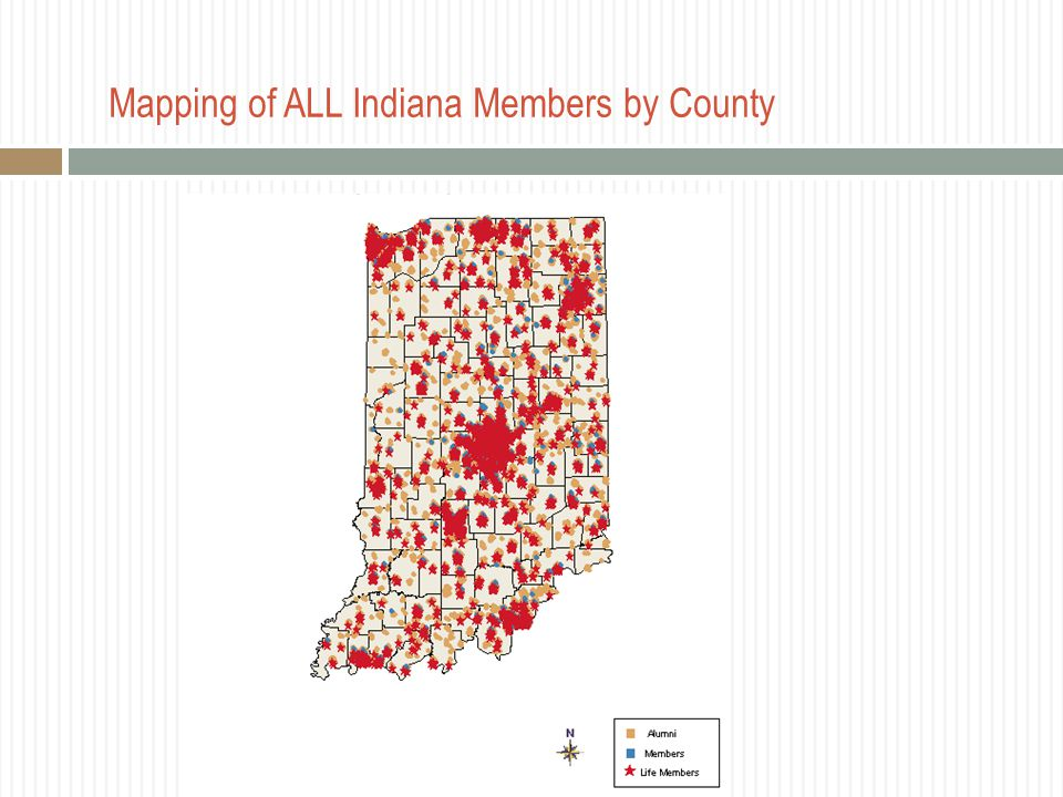 Mapping of ALL Indiana Members by County