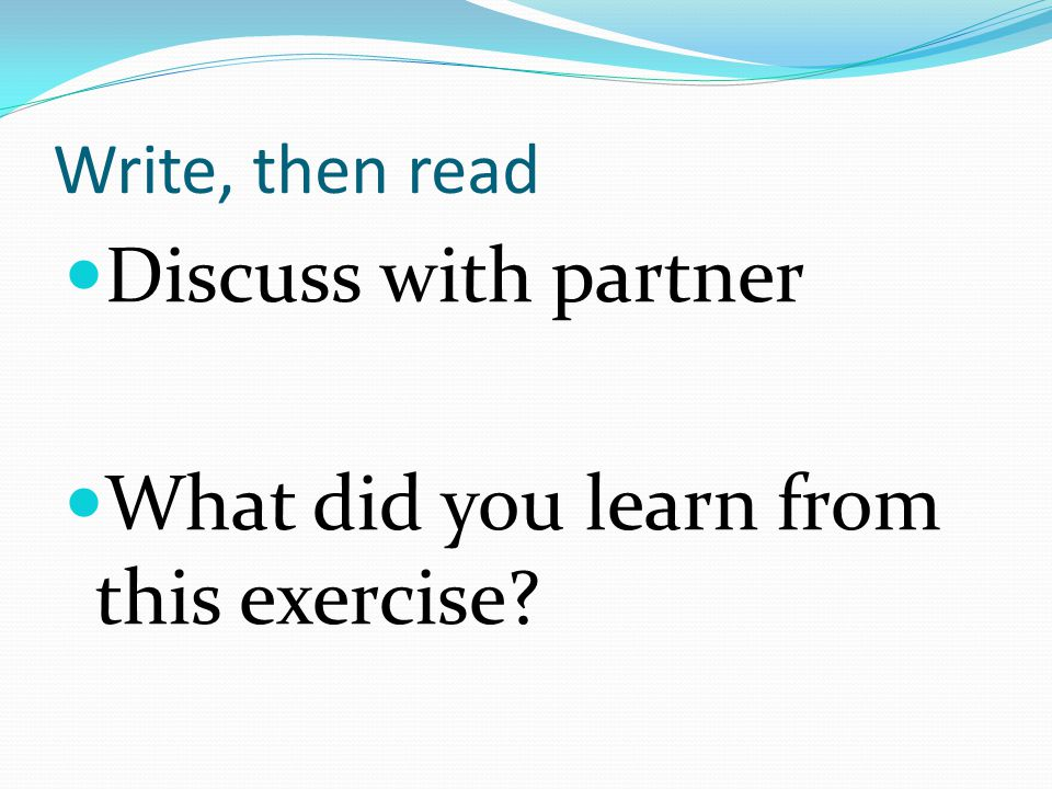 What did you learn from this exercise