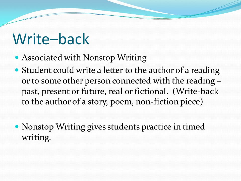 Write–back Associated with Nonstop Writing