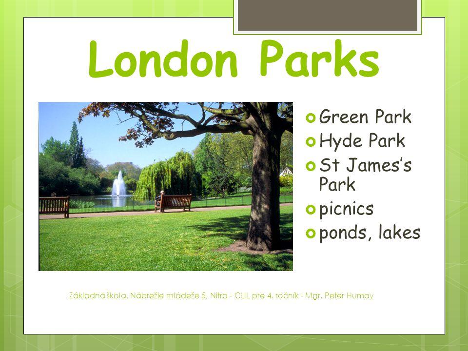 London Parks Green Park Hyde Park St James's Park picnics ponds, lakes
