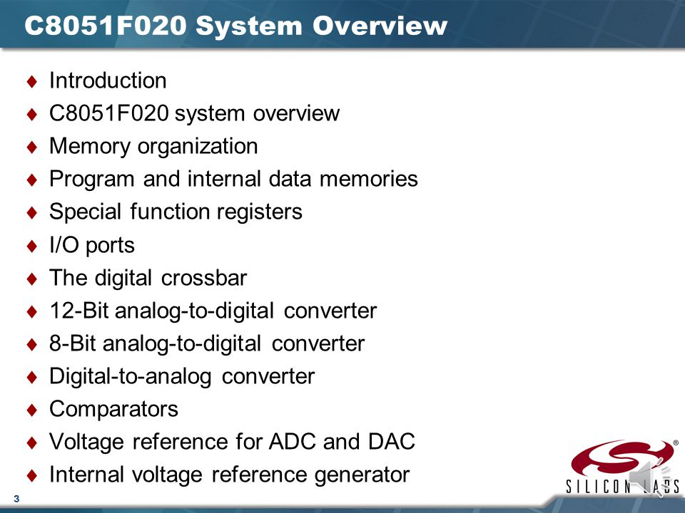 C8051F020 System Overview Introduction C8051F020 system overview