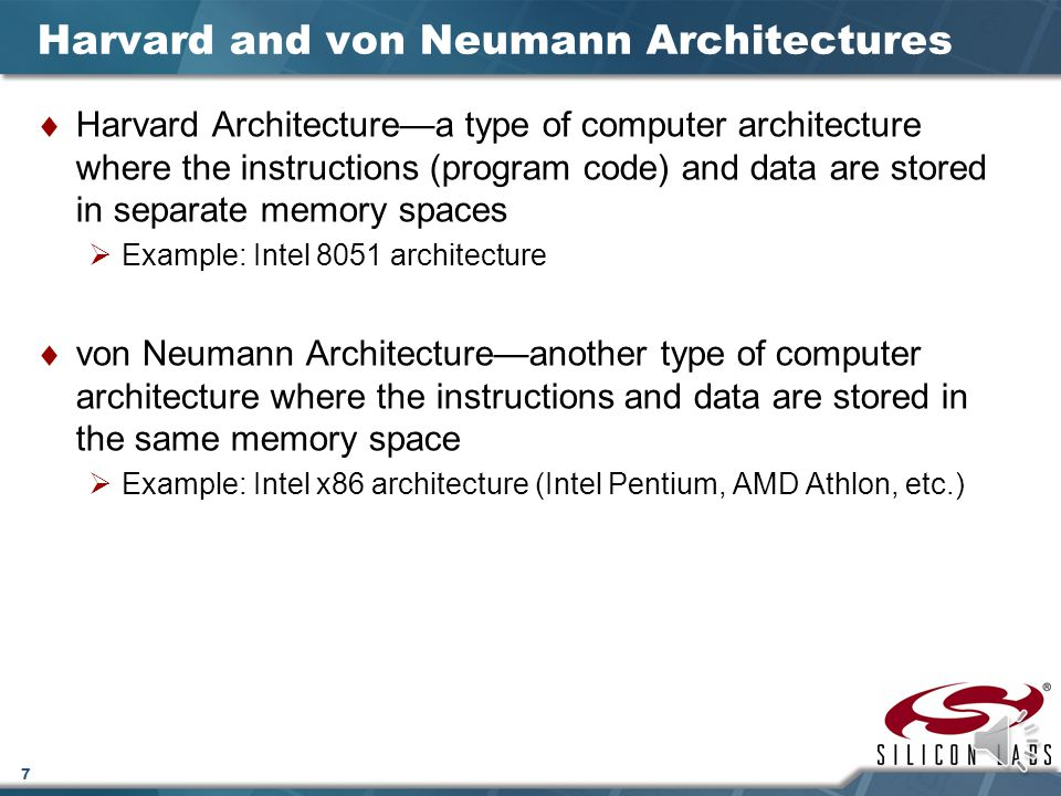Harvard and von Neumann Architectures