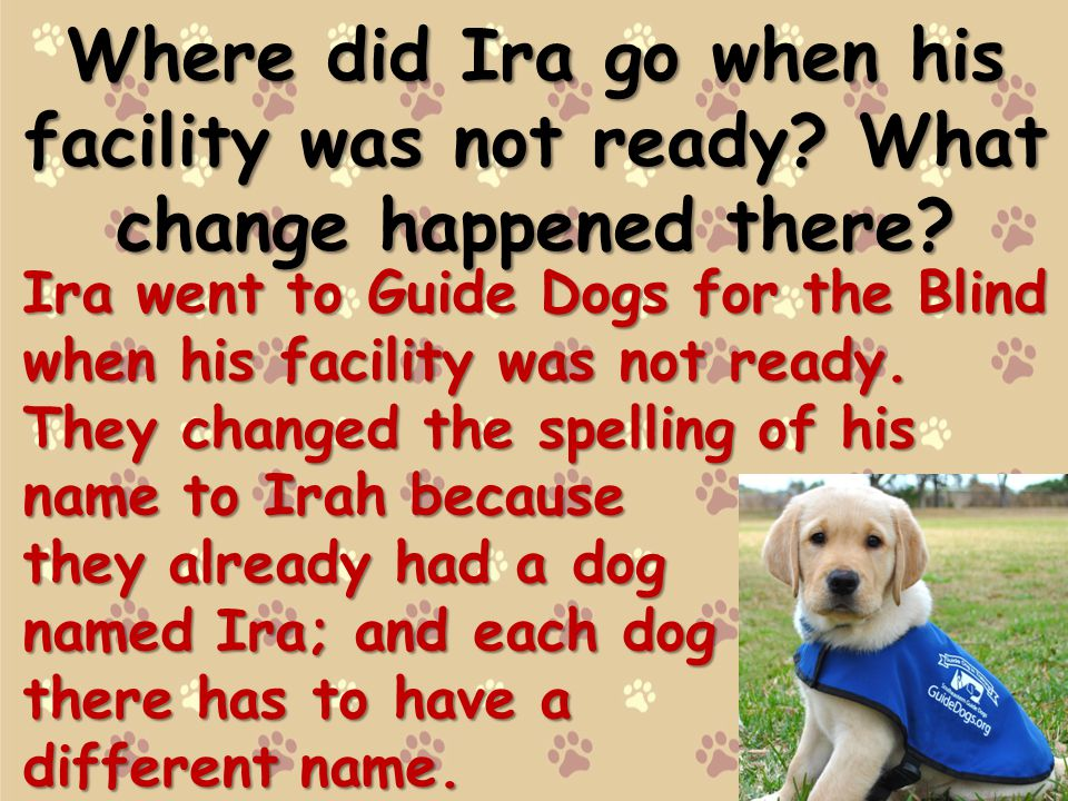 Where did Ira go when his facility was not ready