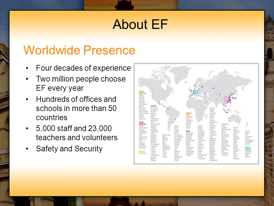 About EF Worldwide Presence Four decades of experience