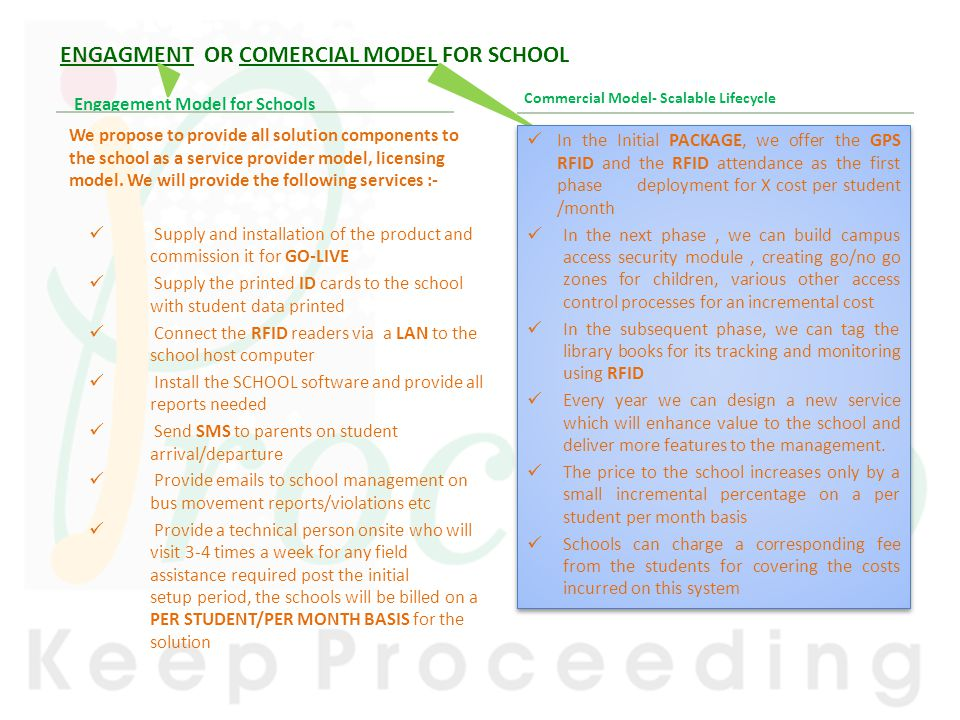 ENGAGMENT OR COMERCIAL MODEL FOR SCHOOL