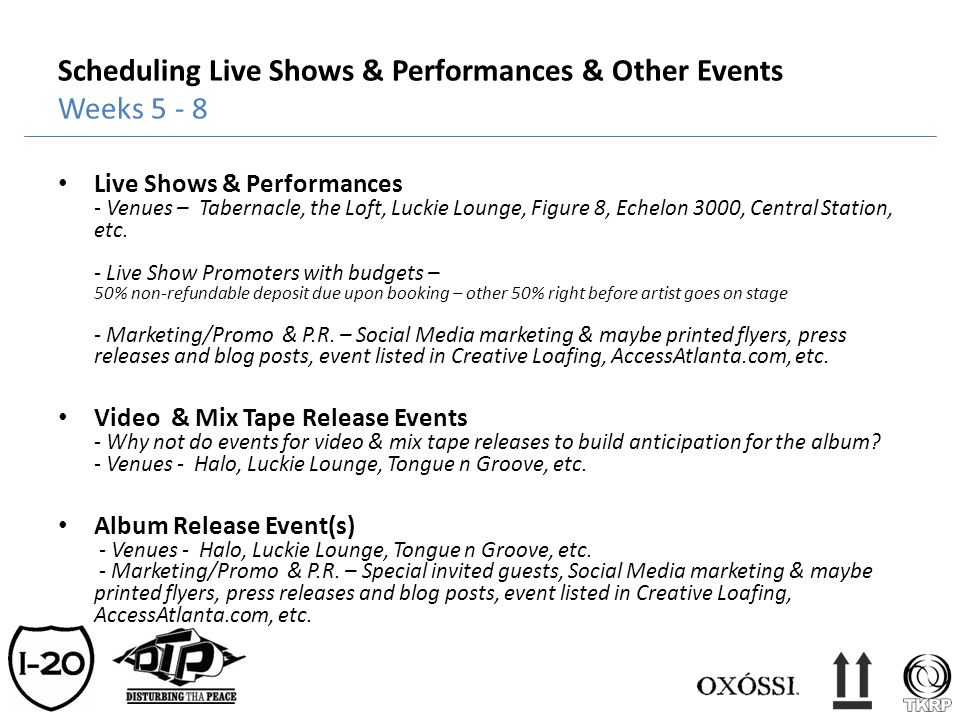 Scheduling Live Shows & Performances & Other Events Weeks 5 - 8