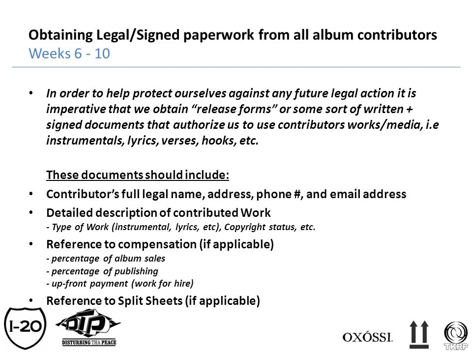 Obtaining Legal/Signed paperwork from all album contributors Weeks 6 - 10