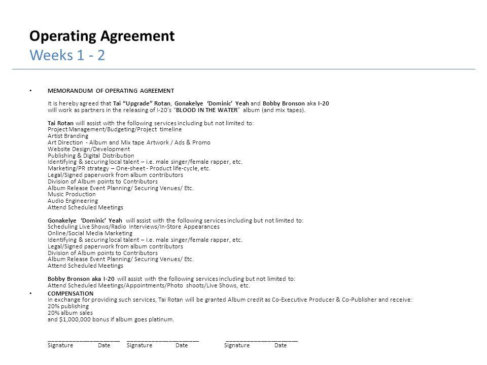 Operating Agreement Weeks 1 - 2