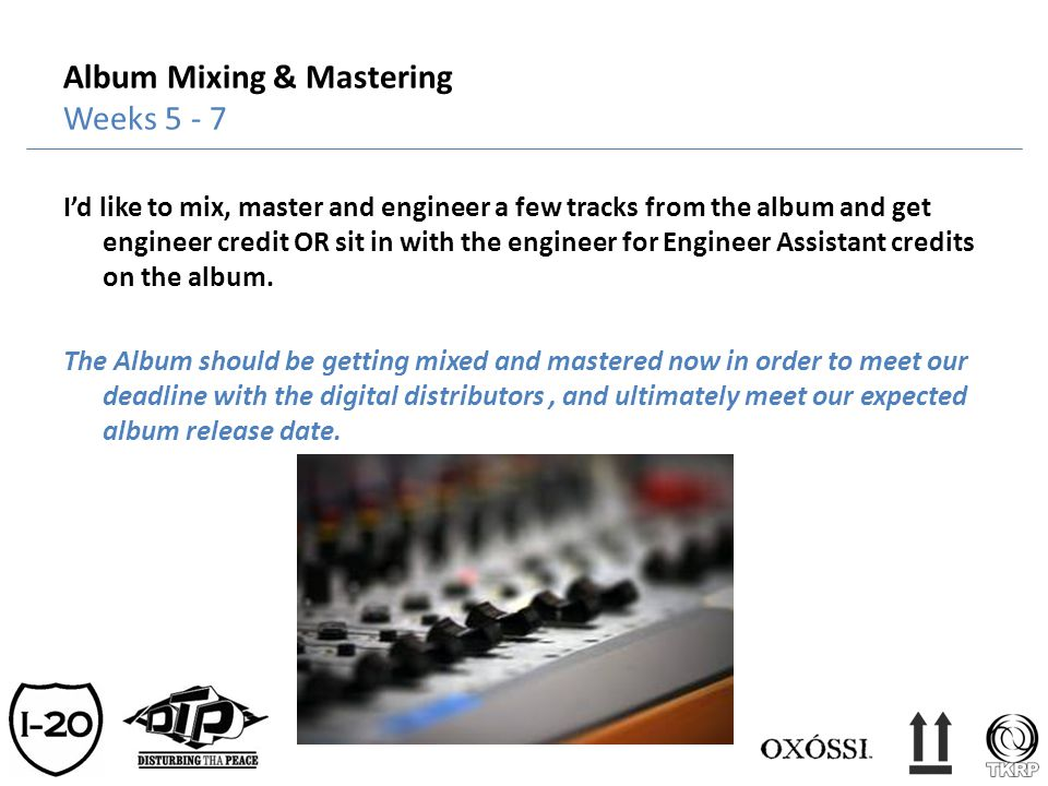 Album Mixing & Mastering Weeks 5 - 7