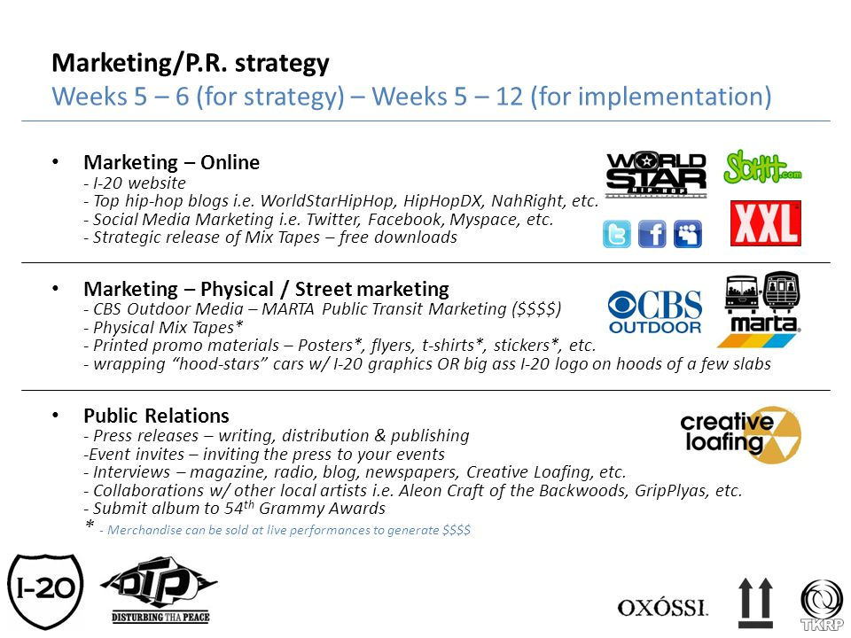 Marketing/P.R. strategy Weeks 5 – 6 (for strategy) – Weeks 5 – 12 (for implementation)