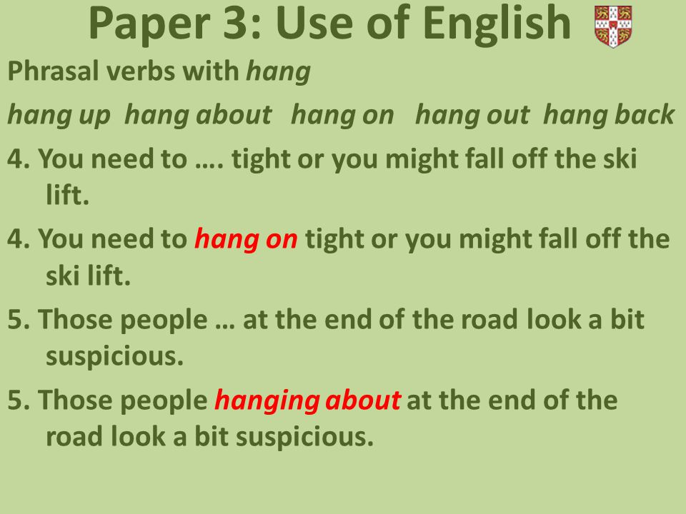 Paper 3: Use of English Phrasal verbs with hang