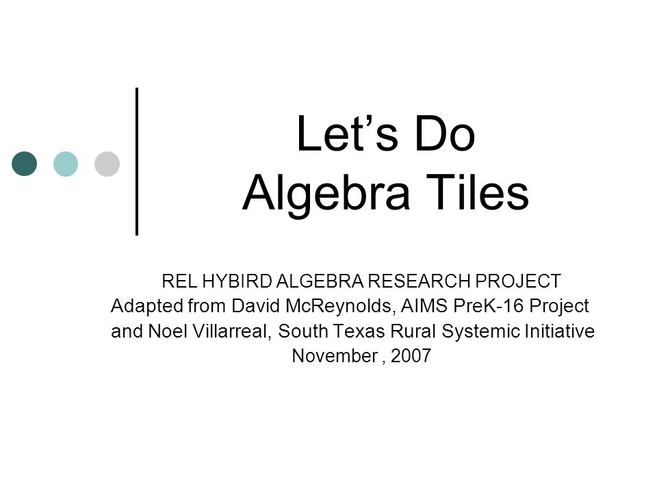 REL HYBIRD ALGEBRA RESEARCH PROJECT