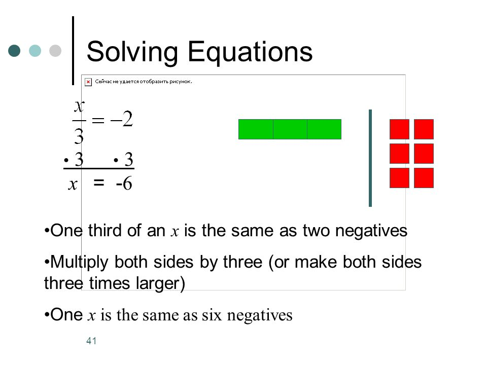Solving Equations • 3 • 3. x = -6. One third of an x is the same as two negatives.