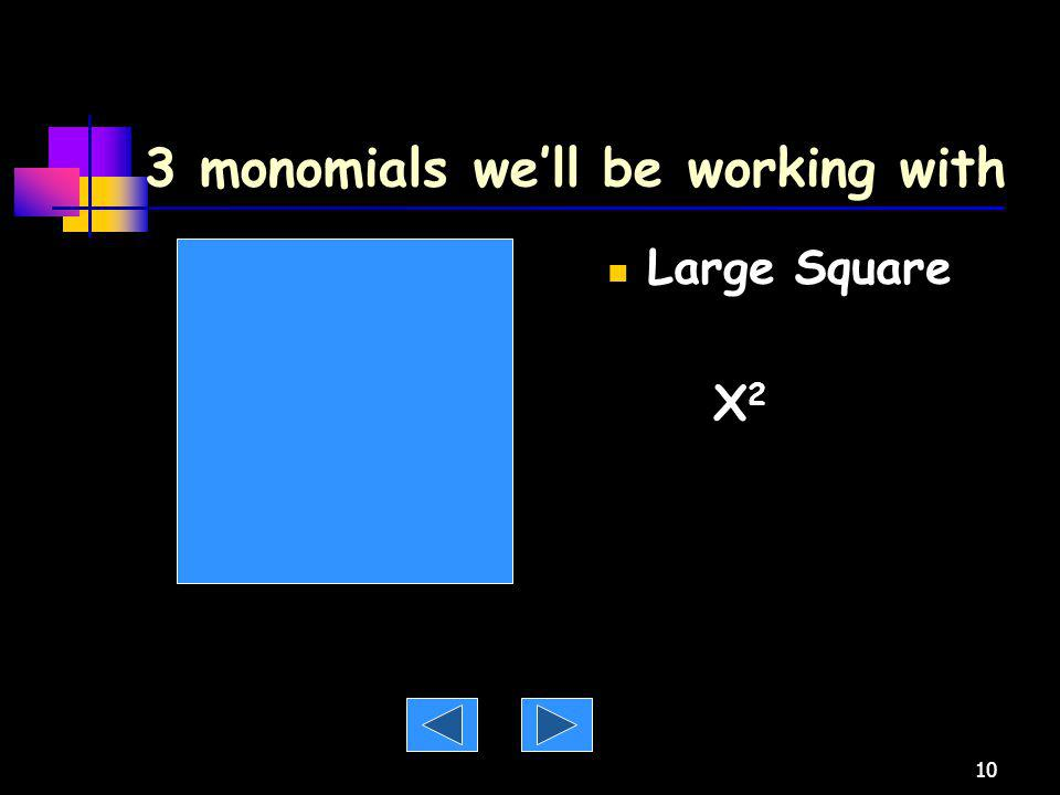 3 monomials we'll be working with