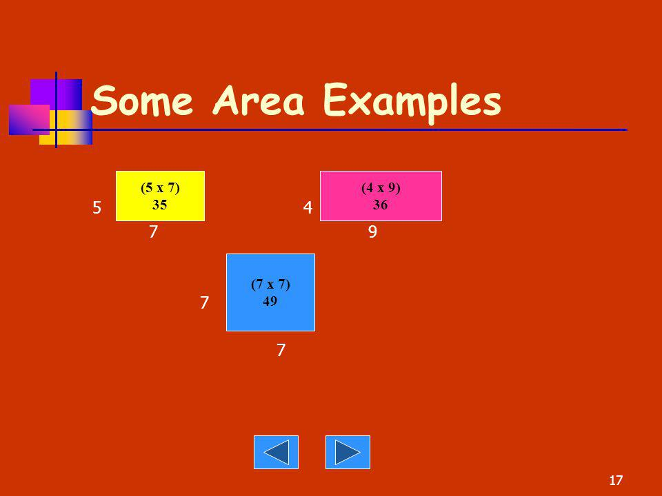 Some Area Examples 5 4. 7 9. 7. (5 x 7) 35.