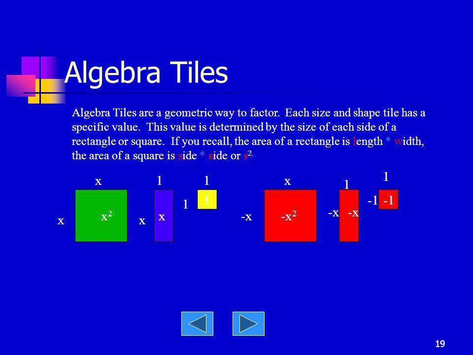 Algebra Tiles 1 x 1 1 x 1 1 -1 -1 1 -x -x x2 x -x -x2 x x