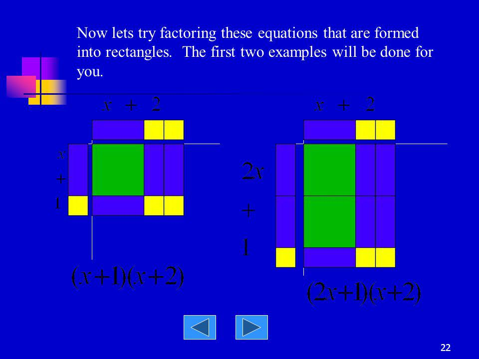 Now lets try factoring these equations that are formed into rectangles