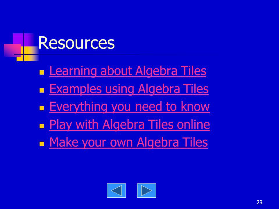 Resources Learning about Algebra Tiles Examples using Algebra Tiles
