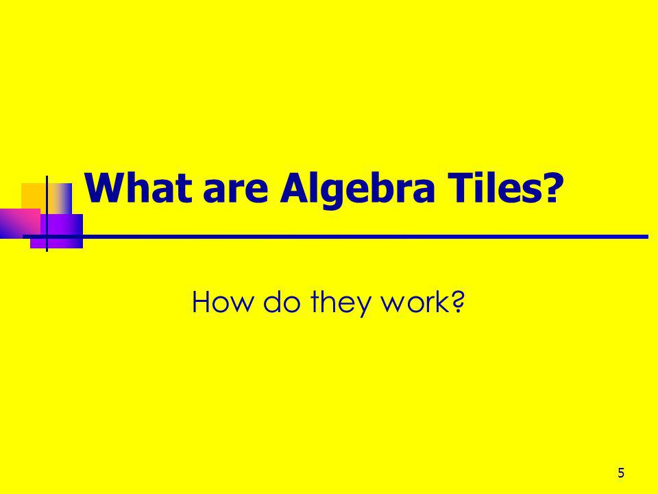 What are Algebra Tiles How do they work