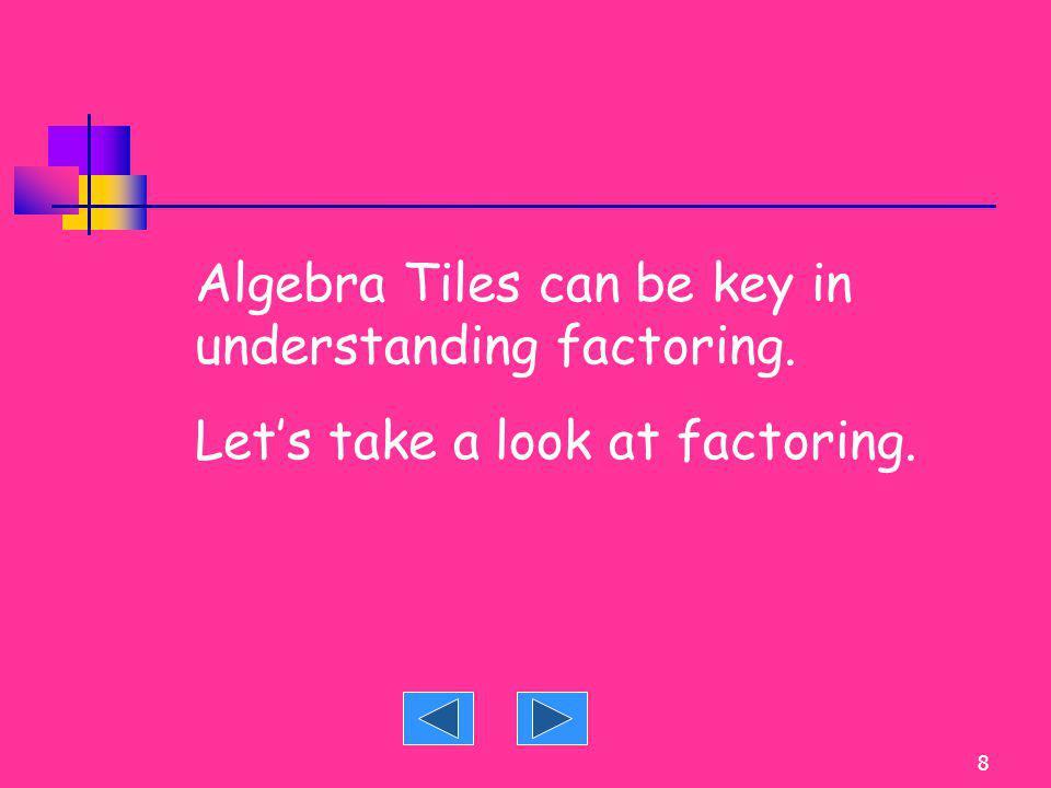 Algebra Tiles can be key in understanding factoring.