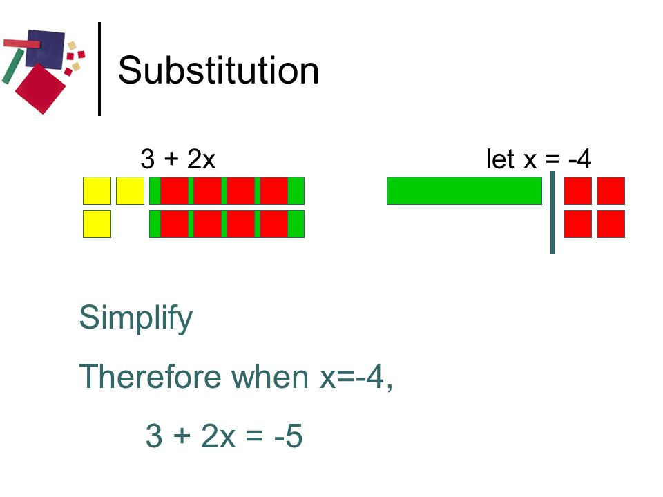 Substitution Simplify Therefore when x=-4, 3 + 2x = -5