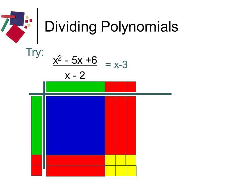 Dividing Polynomials Try: x2 - 5x +6 x - 2 = x-3